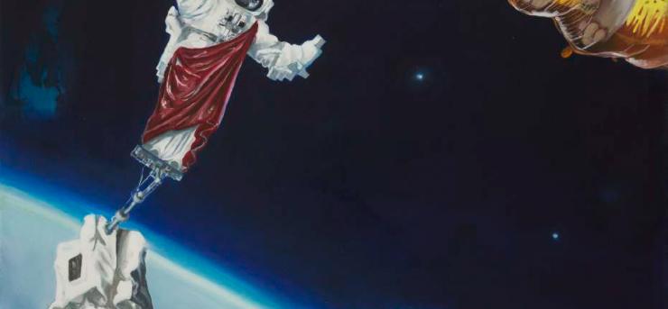 Julia Curyło, Łajka w kosmosie, olej na płótnie